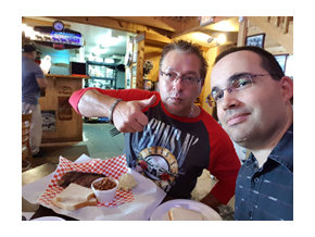 Eating Brisket with my buddy Mike Potvin in San Antonio